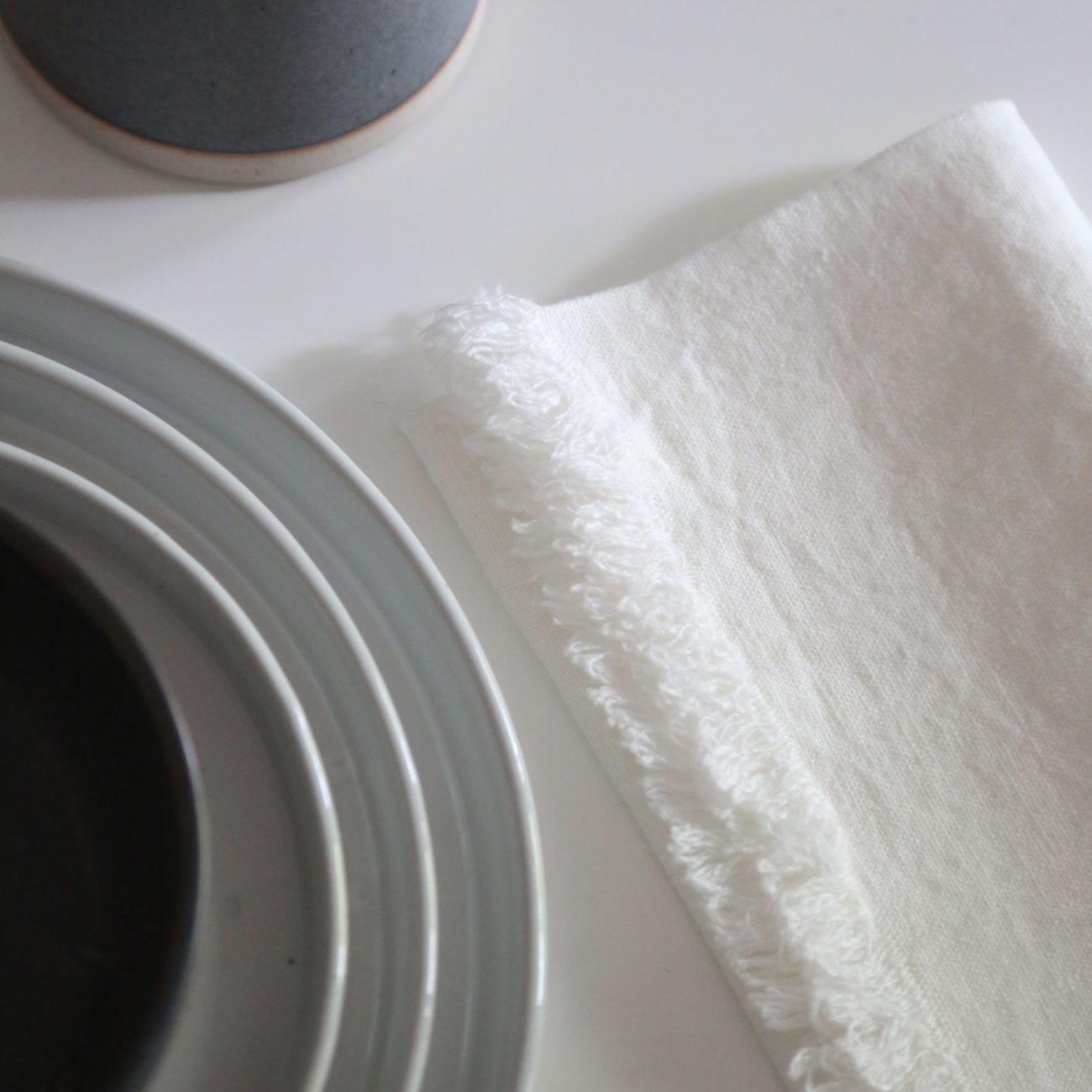 Fringed Linen Napkins, White (Set of 4)