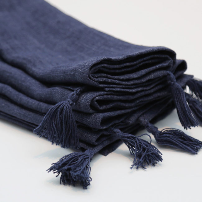 Stone Washed Linen Tasseled Napkins, Navy (Set of 4)