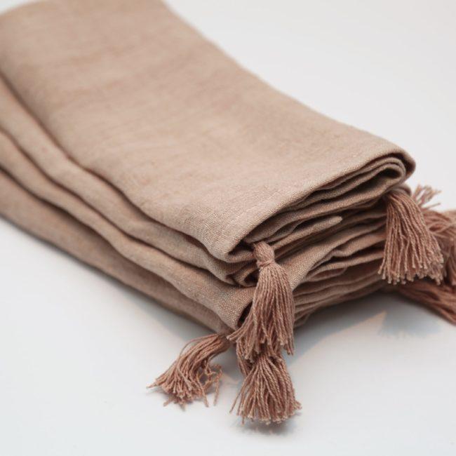 Stone Washed Linen Tassled Napkins, Blush (Set of 4)