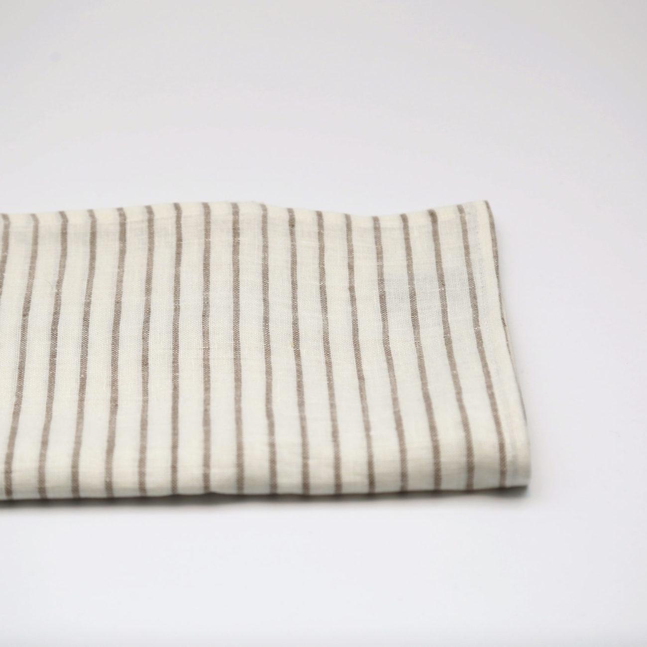 Arman Tea Towels Ivory with Taupe Stripes