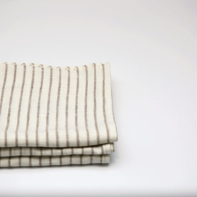 Arman Tea Towels Ivory with Taupe Stripes