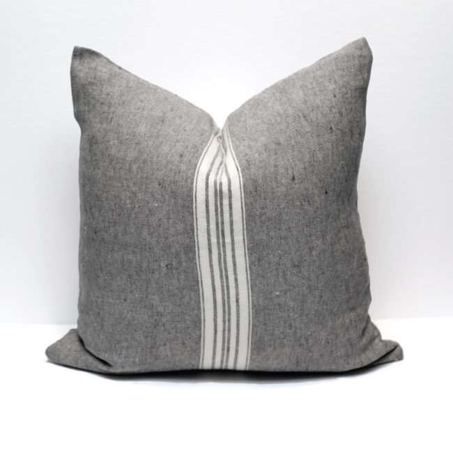 Classic Striped Linen Pillow Cover, Charcoal/White