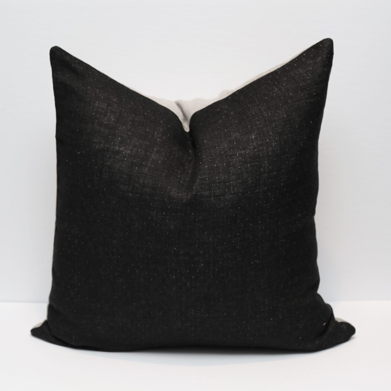 Linen Two-Toned Pillow Cover, Graphite and Natural