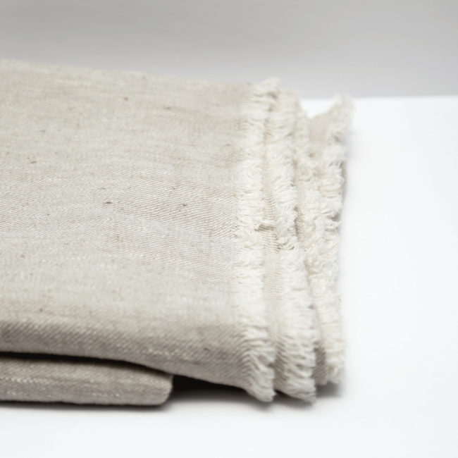 Fringed Linen Throw, Taupe