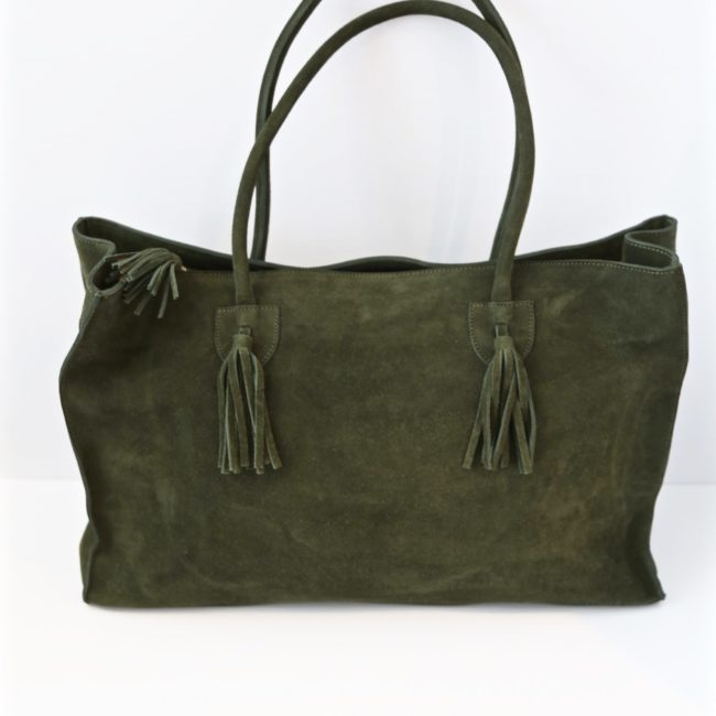 Suede Tote, Olive