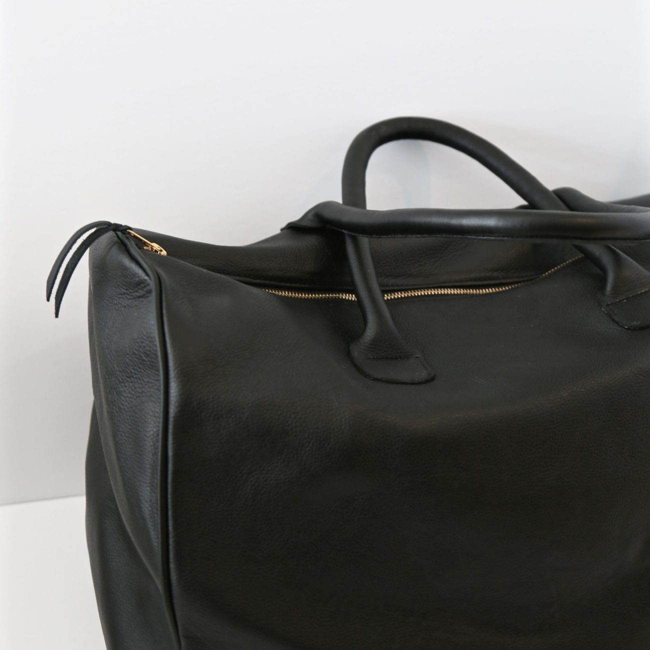 Luxury Leather Travel Bag, Black