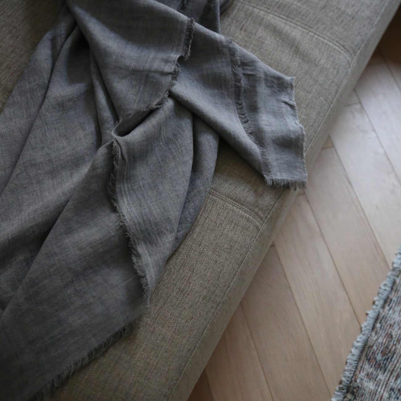 Stone Washed Linen Blanket, Oyster