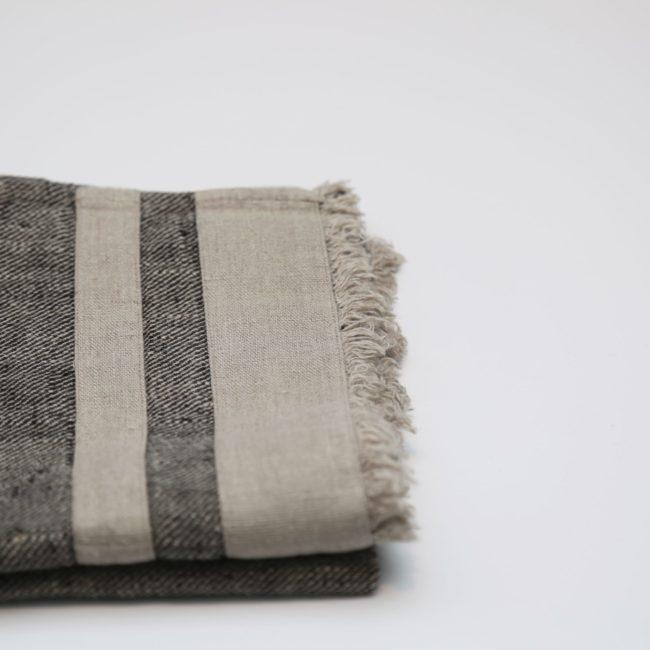 Lipari Tea Towels Black/Natural with Natural Stripe