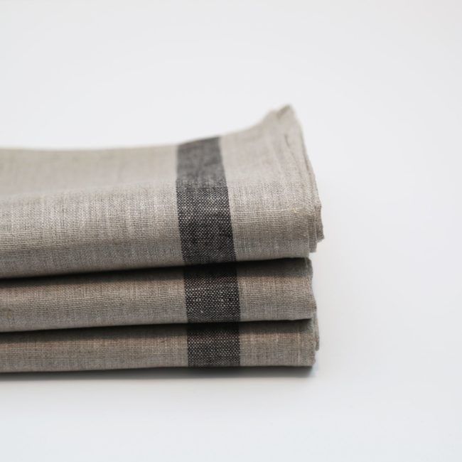Phillip Tea Towels Natural with Black Stripes