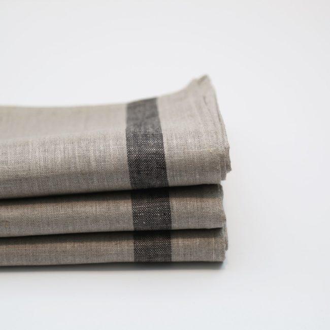 Phillip Tea Towels Natural with Black Stripes