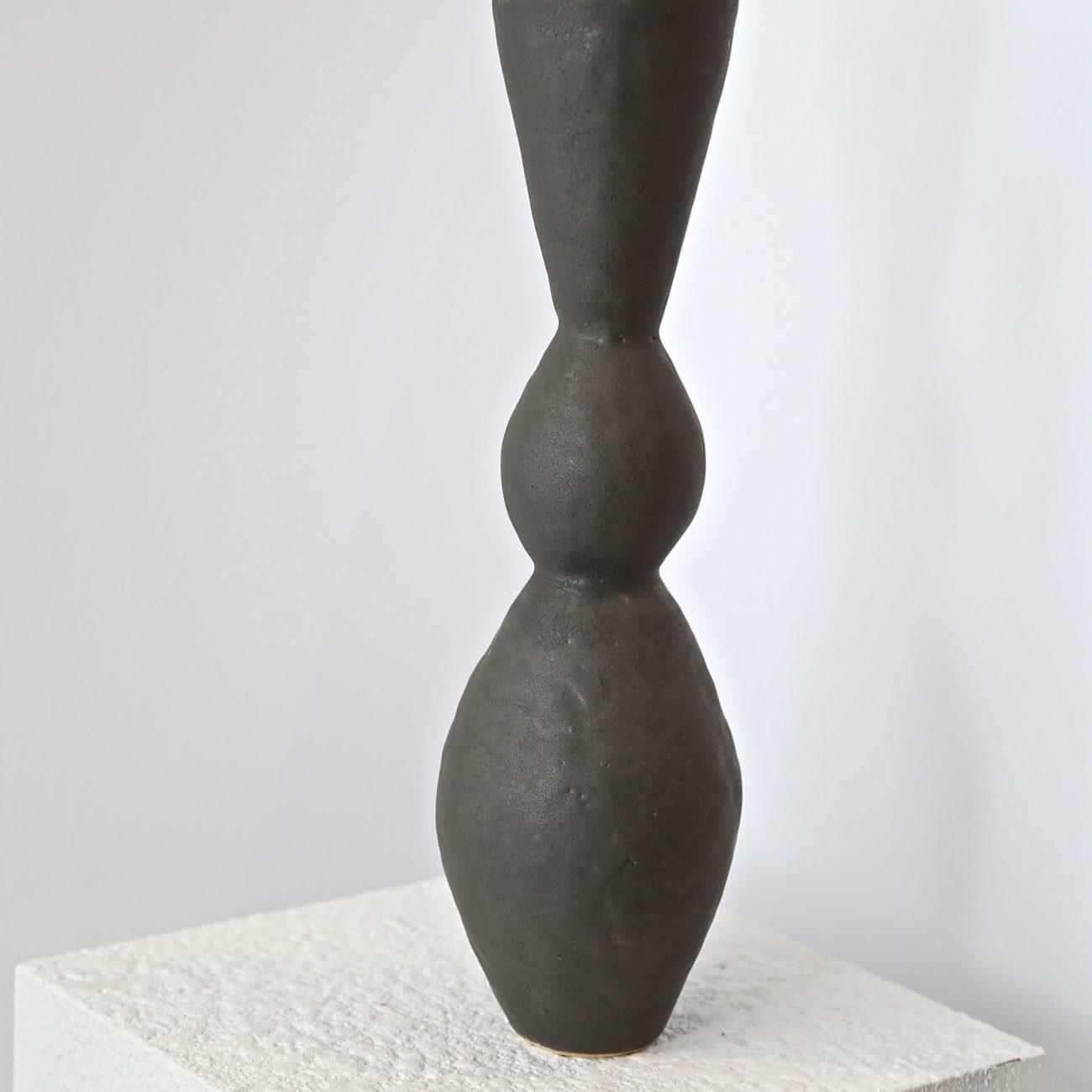 Double Curve Ceramic Vase, Black