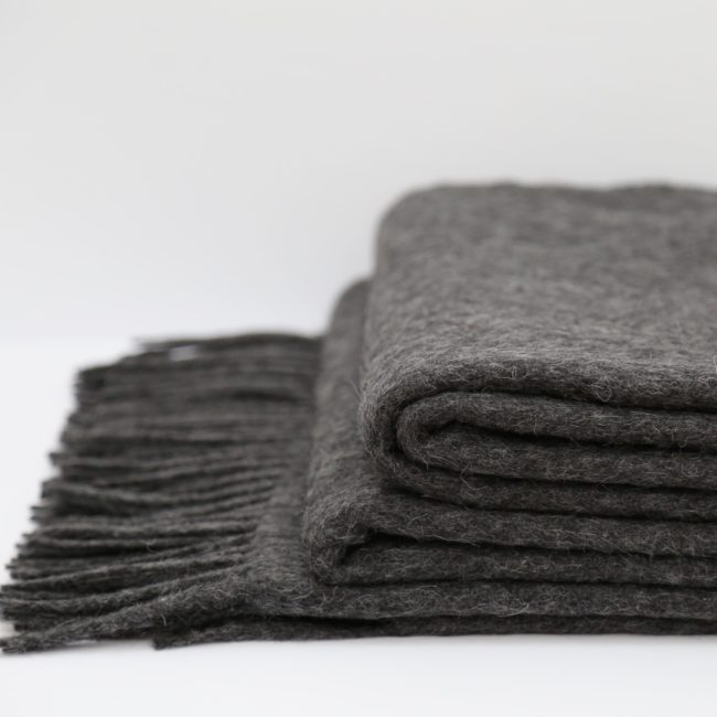 Alpaca and Wool Oversized Throw, Charcoal