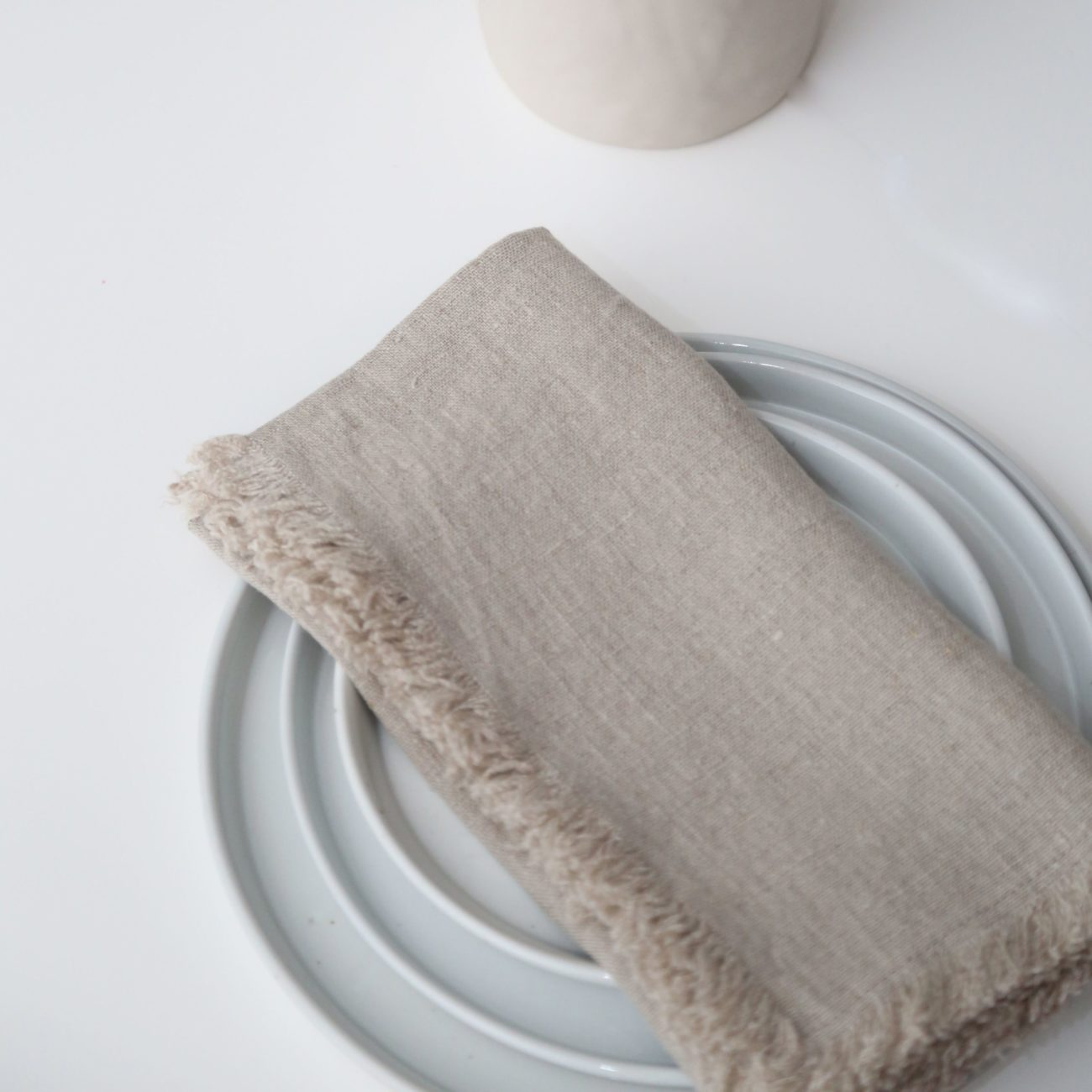 Fringed Linen Napkins, Natural (Set of 4)
