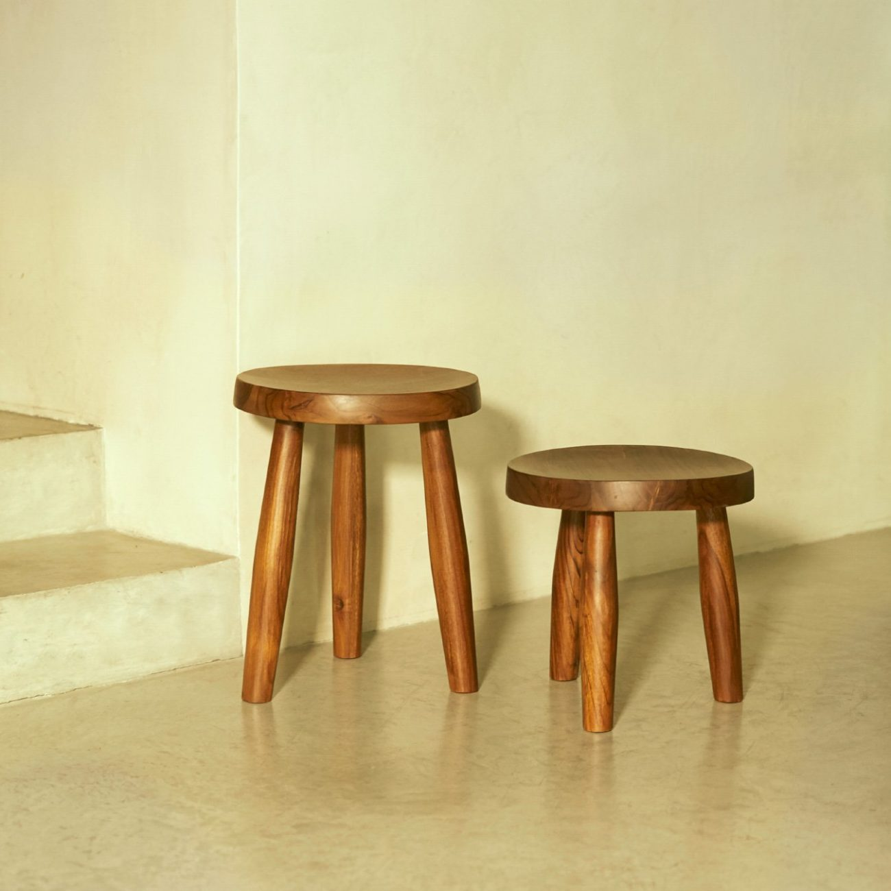 Teak Milk Stool, Small