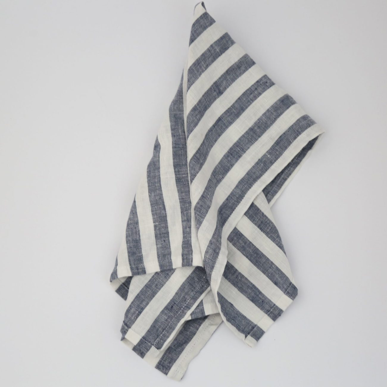 Classic Stripe Linen Tea Towel, Navy