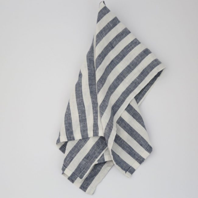 Classic Stripe Linen Tea Towel, Navy
