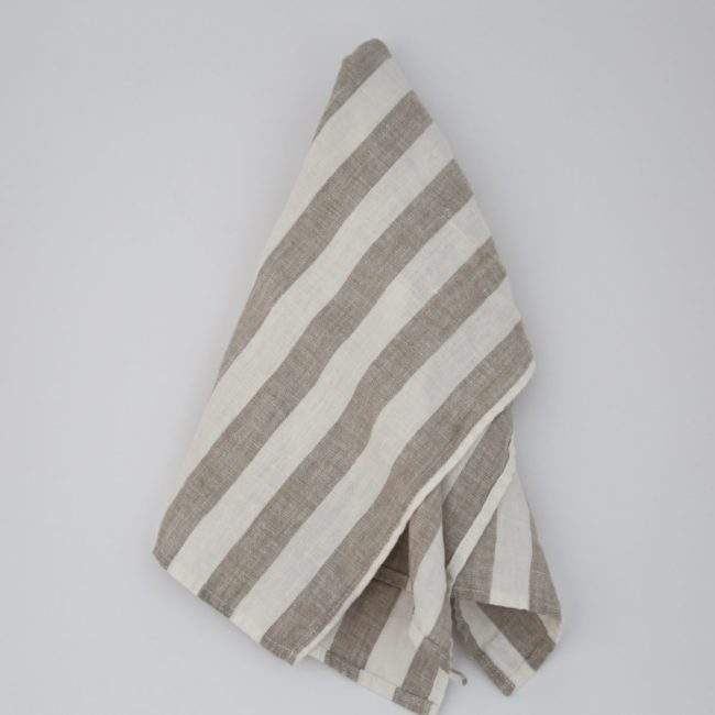 Classic Stripe Linen Tea Towel, Taupe